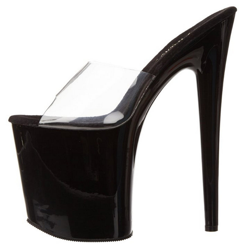 Clear Black Slide Stripper Sexy Exotic Dancer Clubwear High Heels Platform Shoes