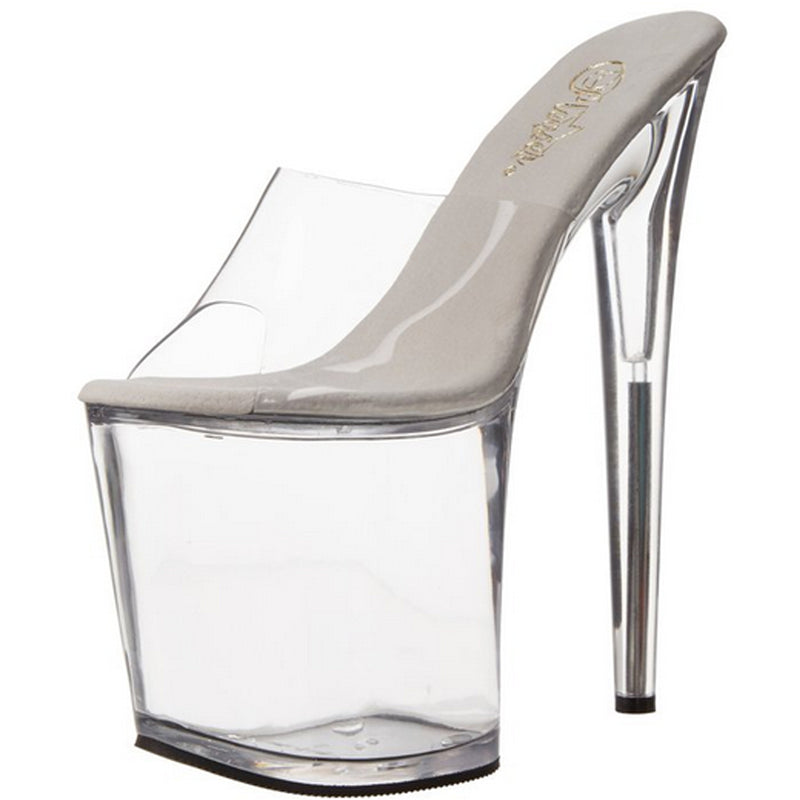 Clear High Heel Womens Platform Slide Mule Pole Dancer Shoes Sandals Pleaser