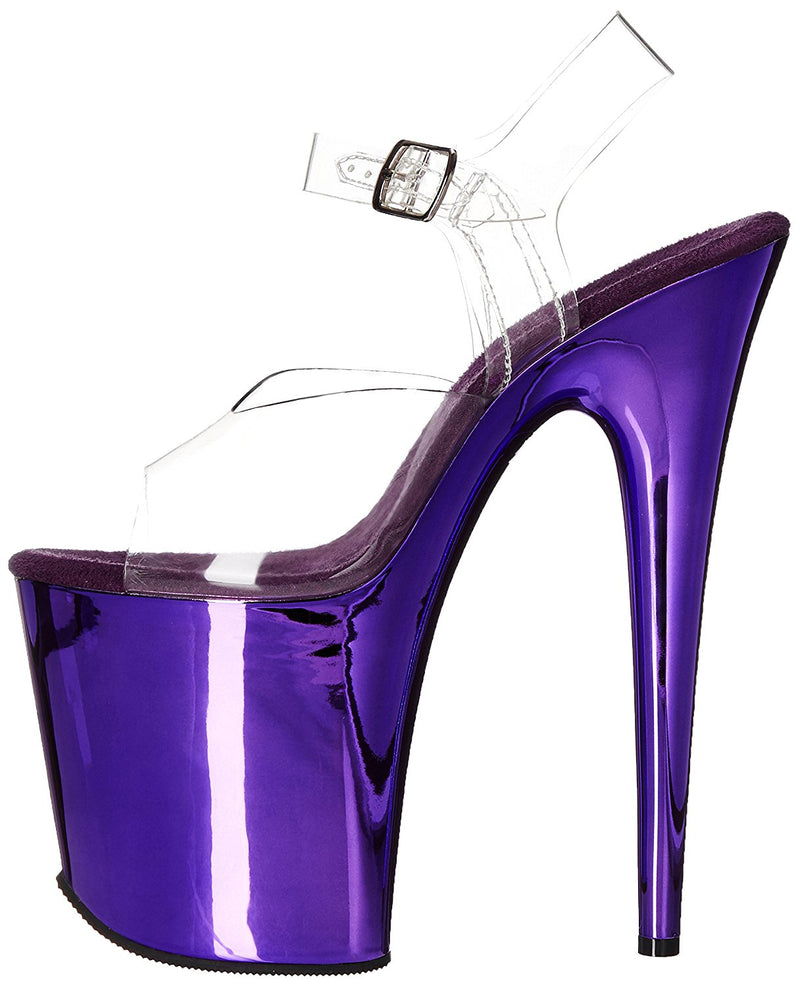 Purple High Heel Chrome Stiletto Ankle Strap Stripper Dance Platform Women Shoes