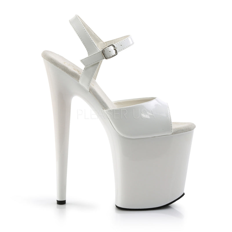 White Patent Ankle Strap Sandals Platform Exotic Pole Dancing High Heels Shoes
