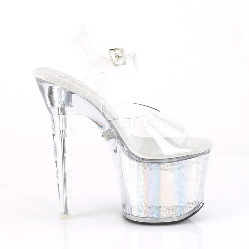 Clear Silver Hologram Scalloped Chargeable LED Light Up Crosshatch Ankle Sandals