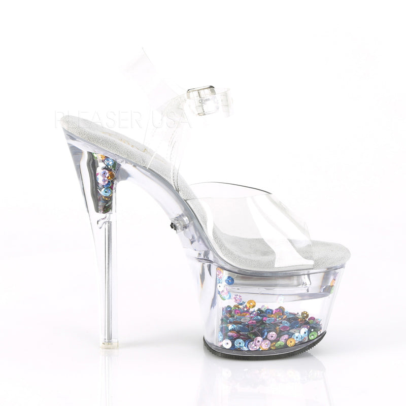 Clear Sequins Illuminated Reflective Changing LED Light Up Ankle Strap Sandals