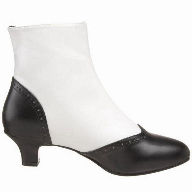 White Black Matte Button Spat Ankle Boots Victoria Burlesque Stage Showgirl