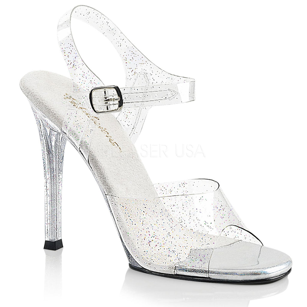 Clear Glitter Ankle Strap Open Toe Sandal Shoes High Heel Fabulicious GALA-08MMG
