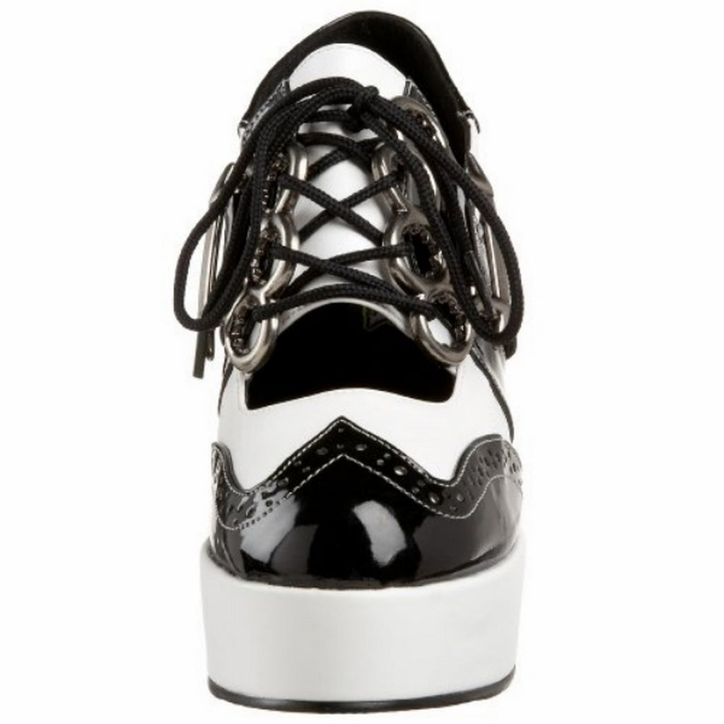 Black White Gangster Brass Knuckle Cut Out Platform Chunky Rockabilly Pumps