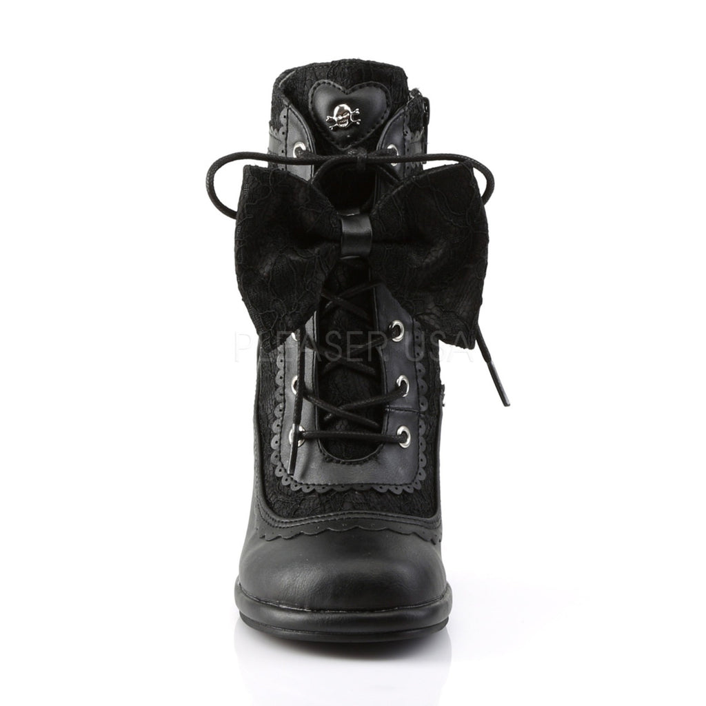 Black Vegan Leather Scalloped Ankle Lace Bow Heart Boots Glam Lolita Goth Punk