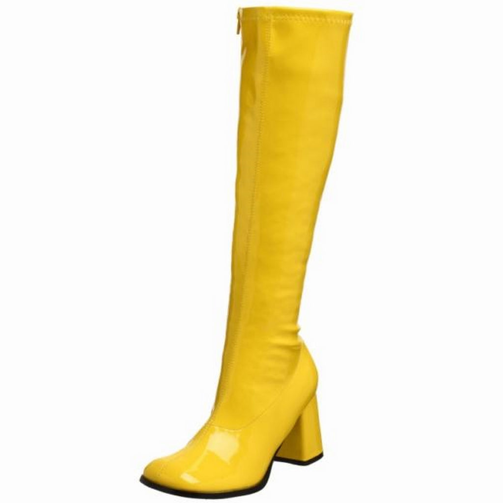 Yellow Stretch Patent Womens Block Heel Sexy ST Dancer Boots FUNTASMA GOGO-300