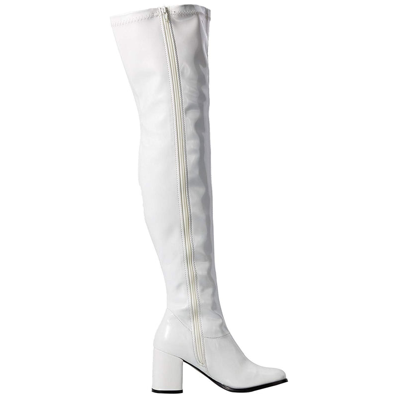 White Sexy Retro 70's Gogo Dancer Halloween Costume Thigh High Boots GOGO-3000