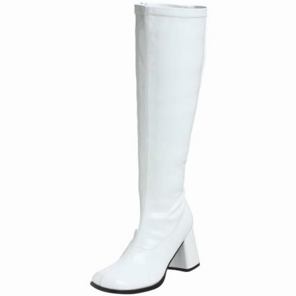 White Patent Stretch Knee High Boots Wide Width Plus Size FUNTASMA GOGO300-WC