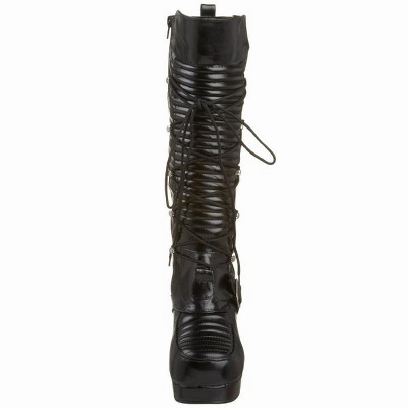Black Lace Up Knee High Boots Platfrom Biker Combat Lolita Goth Punk Alternative