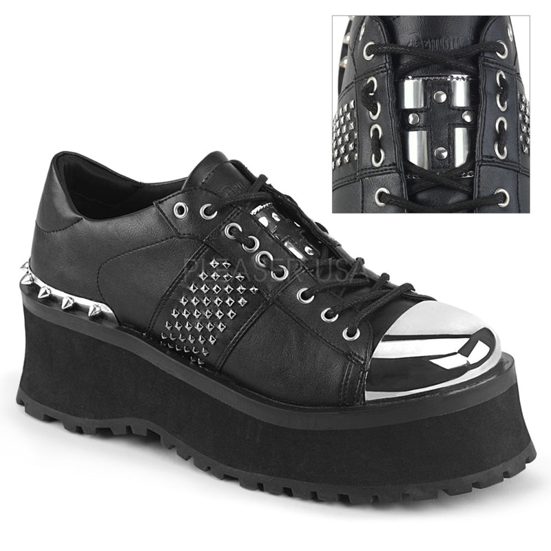 Black Vegan Leather Mens Goth Biker Bondage Punk Lace Up Wedge Oxford Shoes