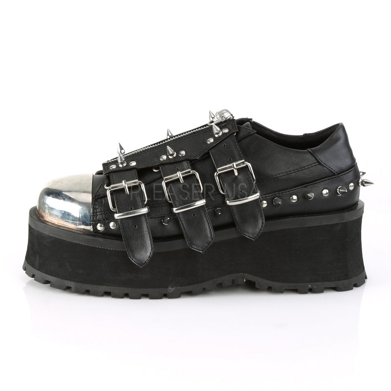 Black Unisex Goth Punk Rave Biker Lace Up Wedge Oxford Shoes Spike Chrome Plate