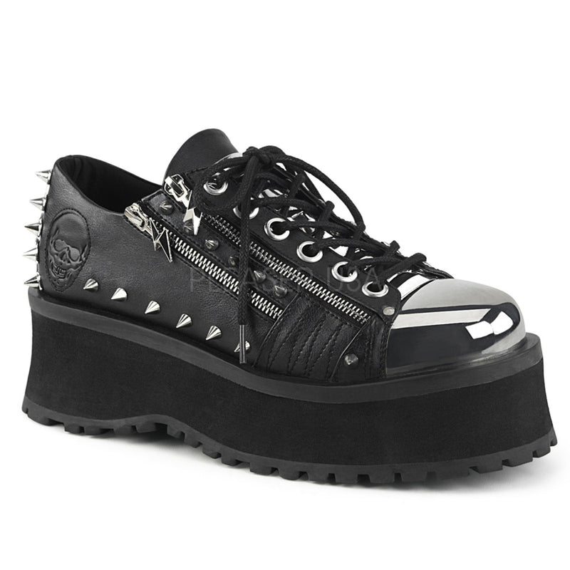 Black Unisex Goth Punk Rave Biker Wedge Oxfrod Shoes Chrome Plate Zip Studded