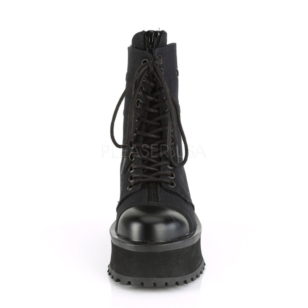 Black Canvas Lace Up Ankle Boots Wedge Platform Mens Biker Goth Punk Metal Cap