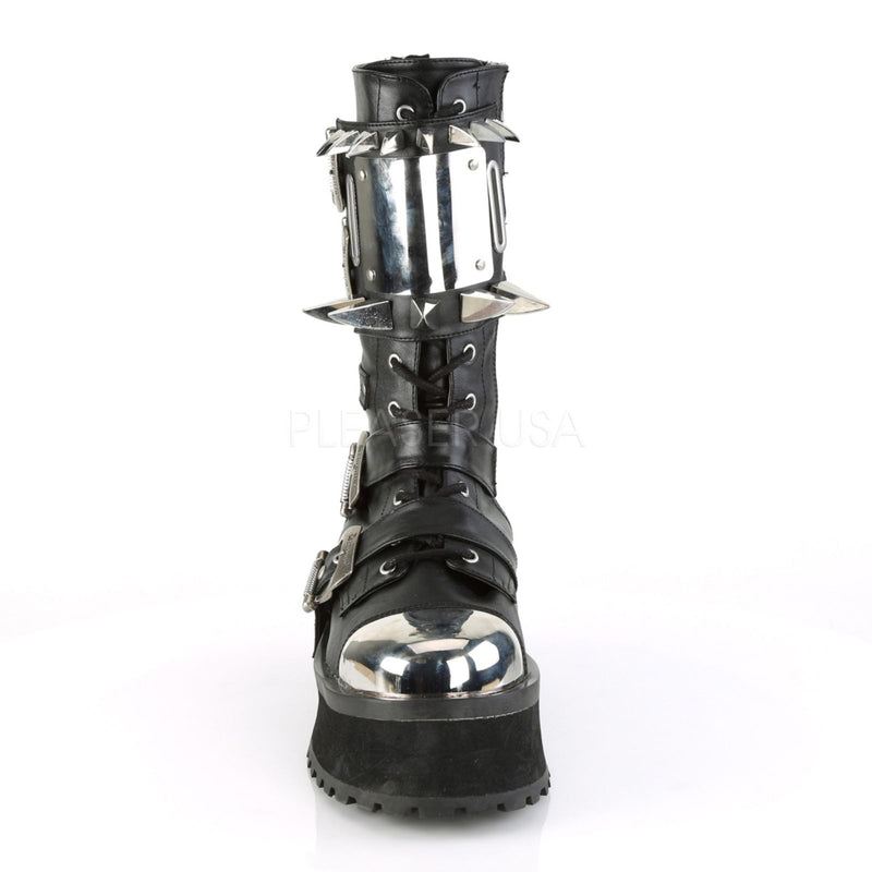 Black Platform Lace-Up Mid-Calf Boots Mens Gothic Goth Punk Rock Metal Biker