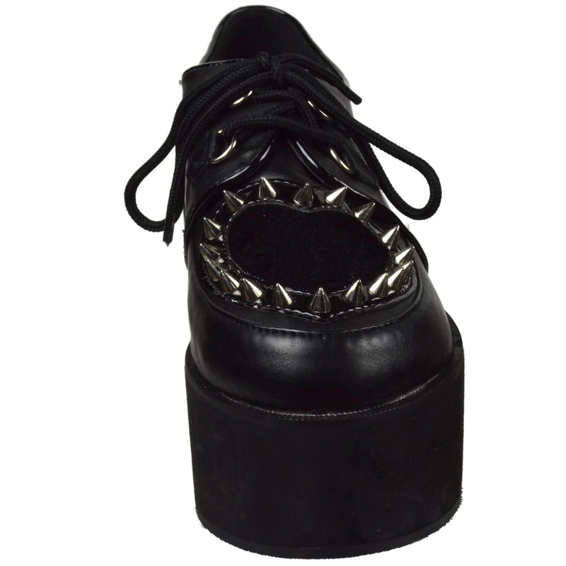 Black Wedge Platform Shoes Goth Punk Biker Rave Heart Cutout Studded Spiked