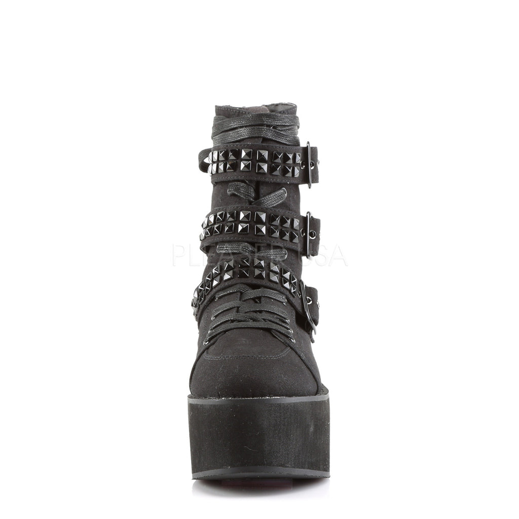 Black Canvas Ankle High Boots Platform Multi Buckle Straps Goth Punk Alternative