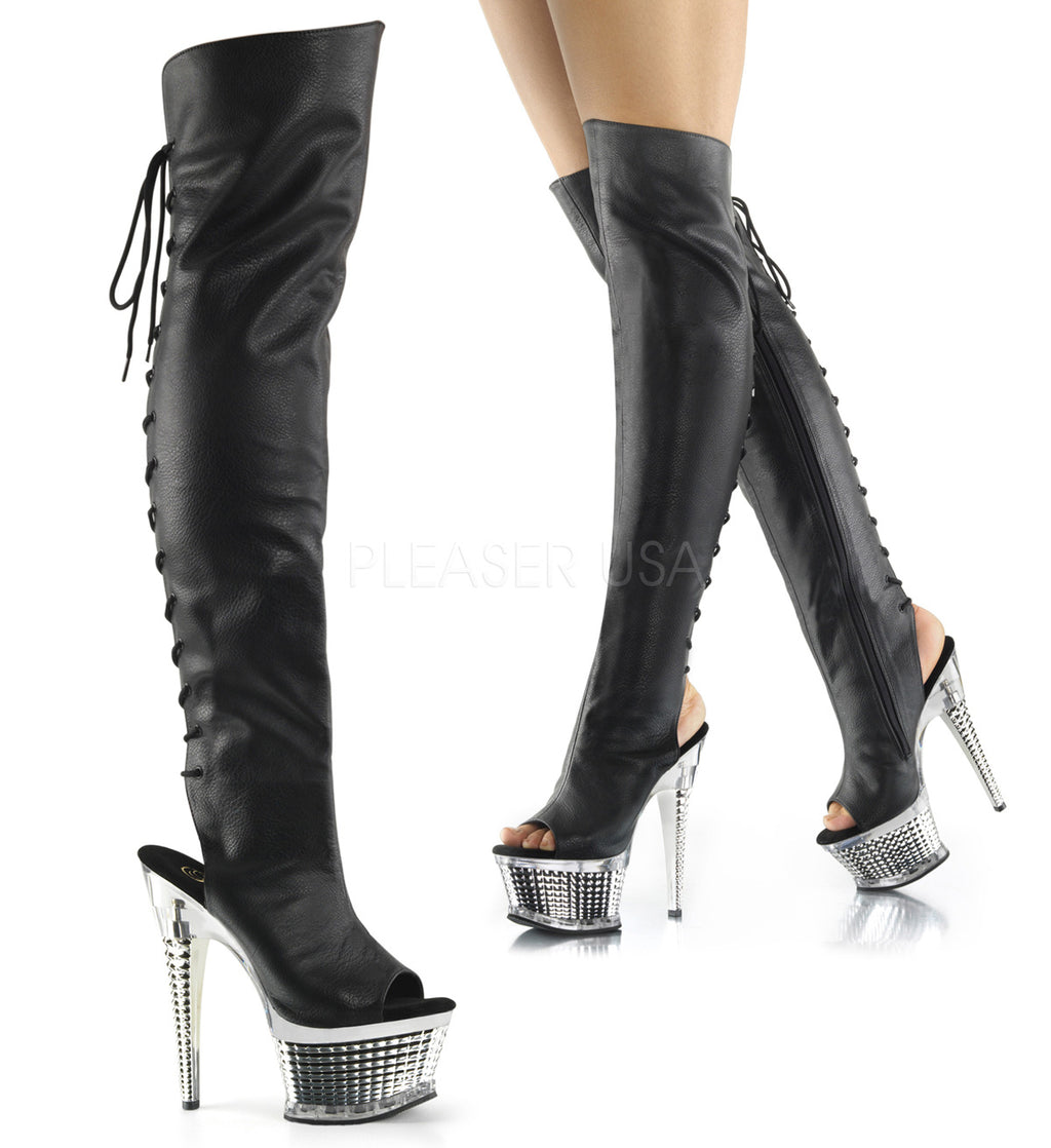 Black Silver Chrome Womens Thigh High Boots Platform Sexy Stripper Exotic Dancer