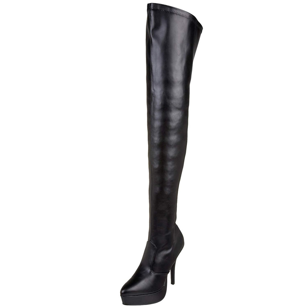 Black Stretch Matte Womens Thigh High Boots Sexy Platform Stiletto High Heel