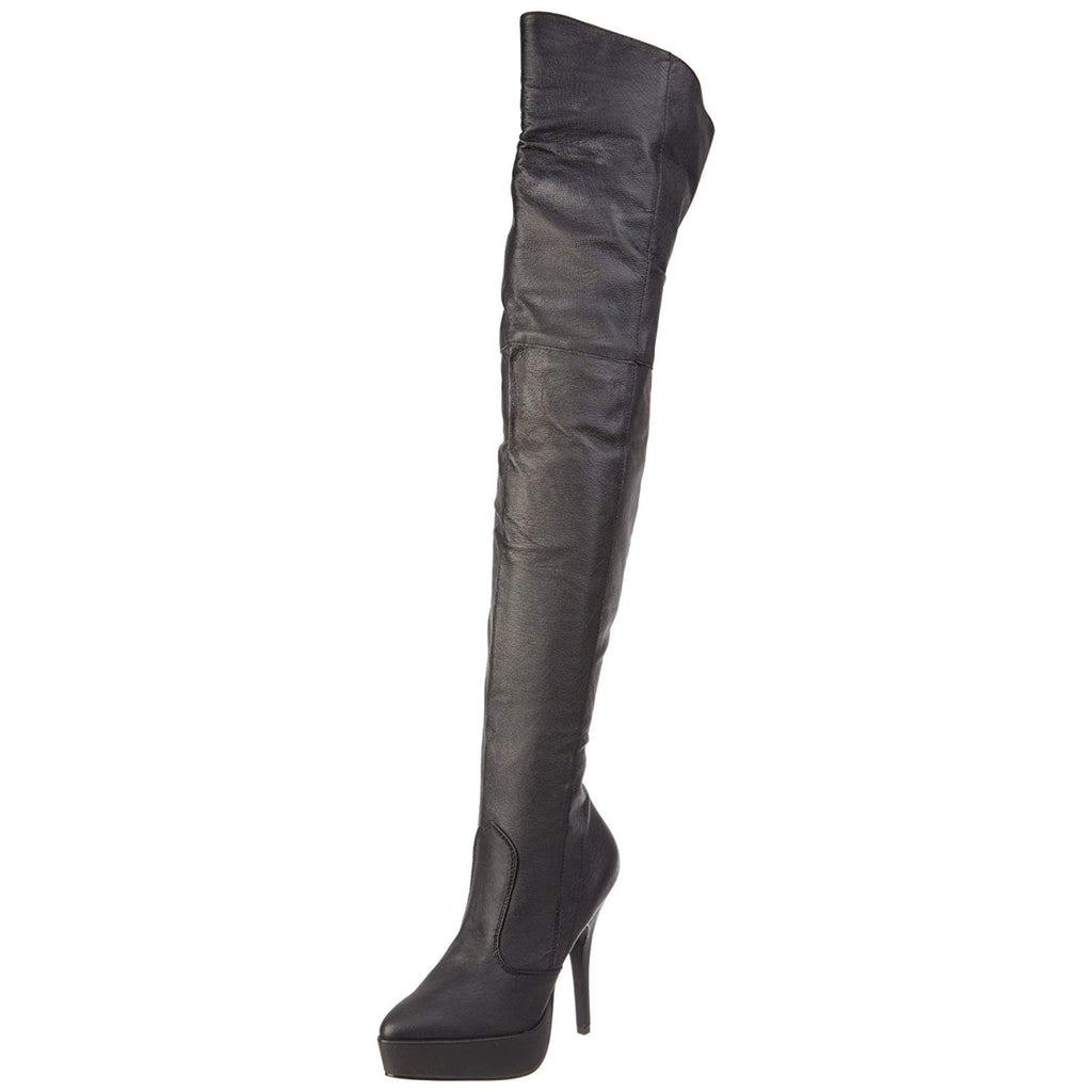 Black Leather Womens Thigh High Boots Sexy Platform Stiletto High Heel Full Zip
