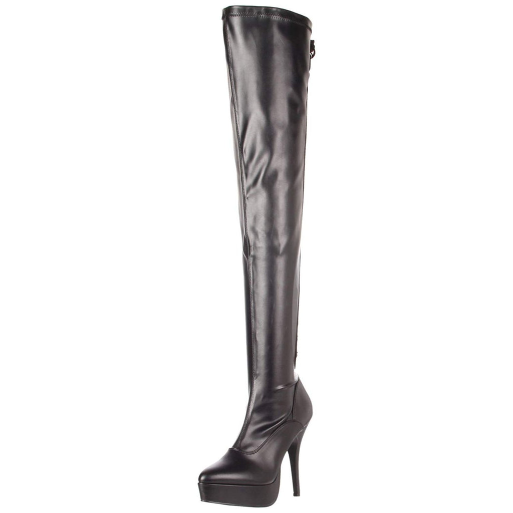 Black Patent Womens Stretch Thigh High Boots Sexy Platform Stiletto High Heel