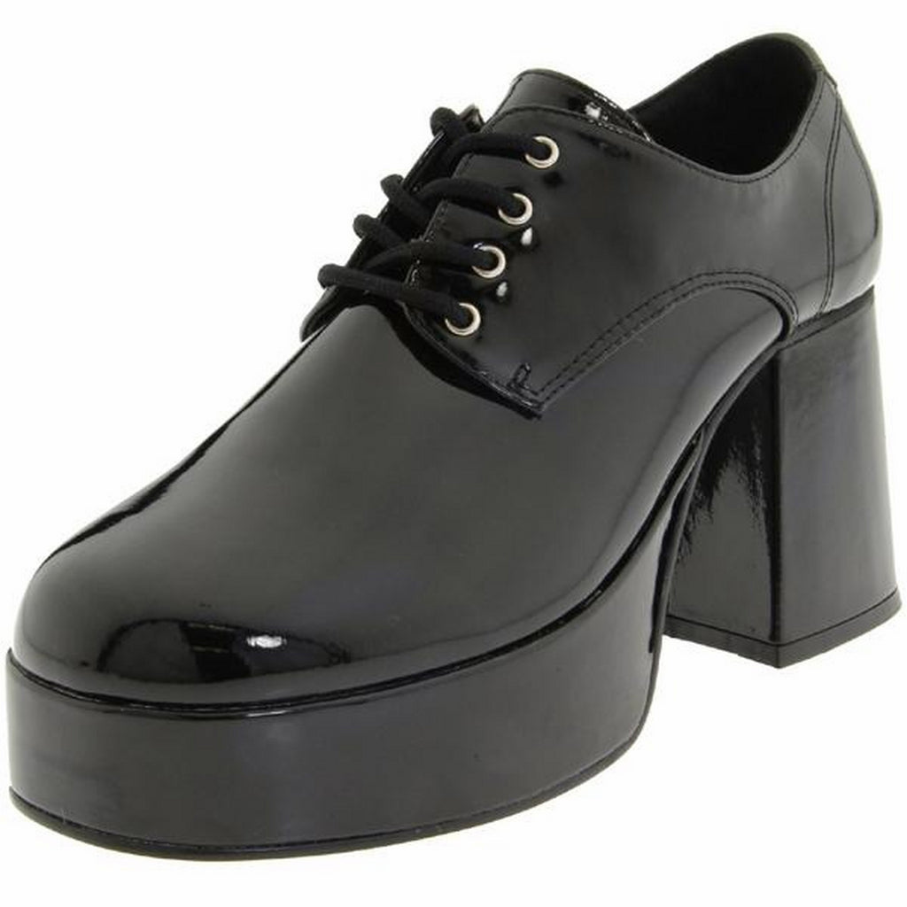Black Patent Mens Disco Retro Heeled Lace Up Pimp Costume Shoes JAZZ-02 Funtasma