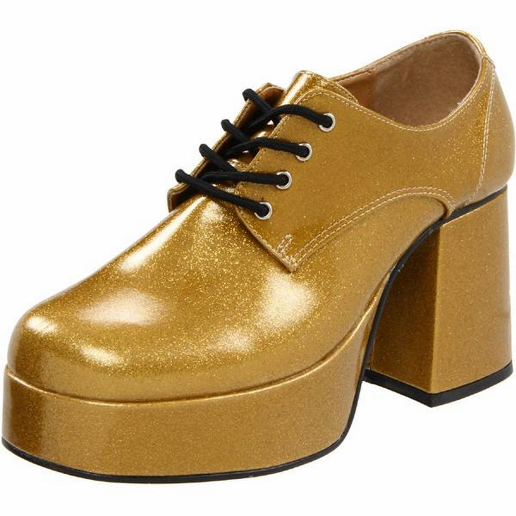 Gold Glitter Pearlized Disco Fancy Lace Up Platform Men Shoes JAZZ-02G Funtasma