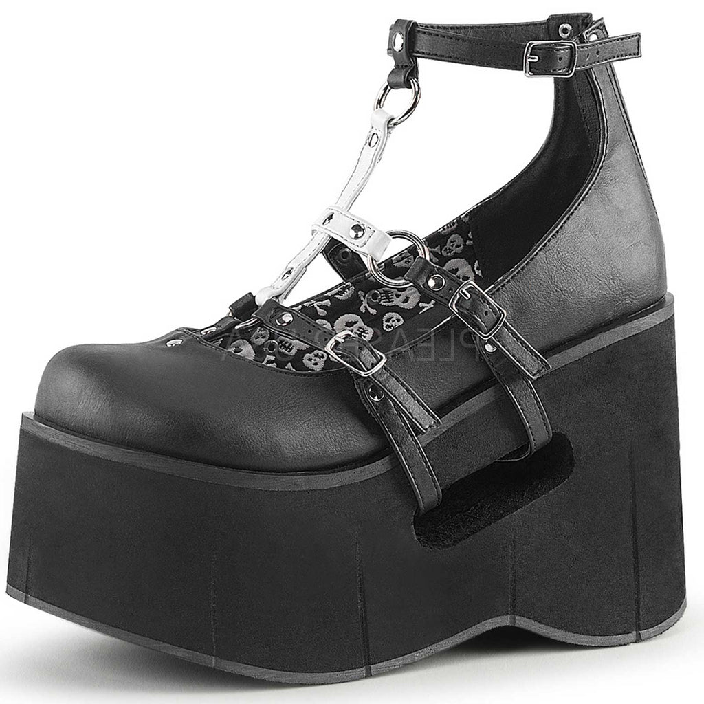 Black Goth Punk Biker Alternative T-Strap Mary Jane Wedge Platform Shoes Demonia