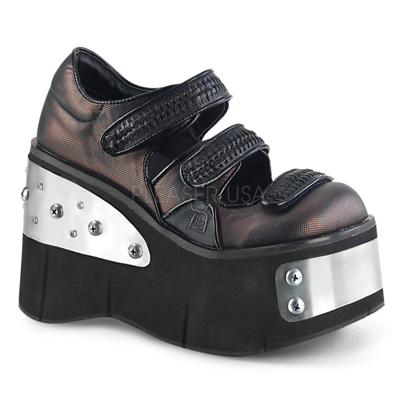 Black Pewter Vegan Leather Platform Mary Jane Shoes Cyber Goth Punk Alternative