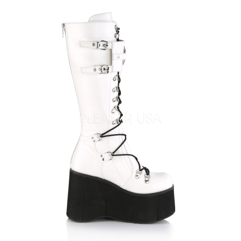 White Vegan Leather Womens Lace-Up Wedge Platform Knee High Boots Gothic Punk