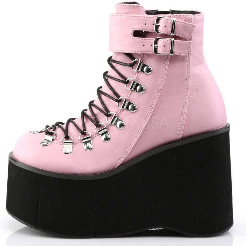 Baby Pink Vegan Leather Lace Up Ankle Boots Goth Punk Alternative Wedge Platform