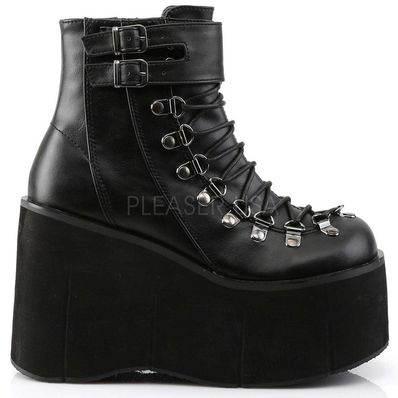 Black Vegan Leather Lace Up Ankle Boots Goth Punk Alternative Wedge Platform