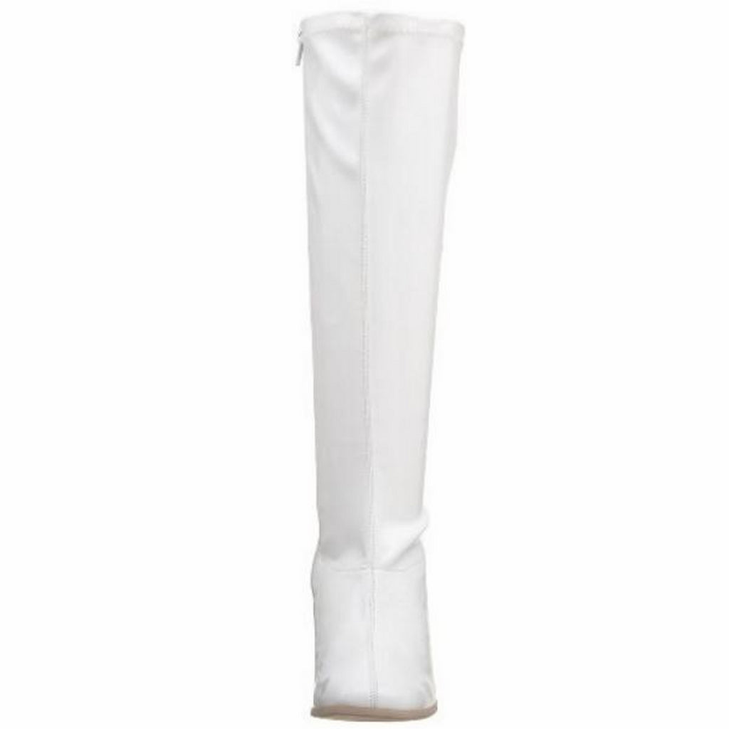 FUNTASMA KIKI-350 Womens Costume Knee High Gogo Boots Stretch Patent White