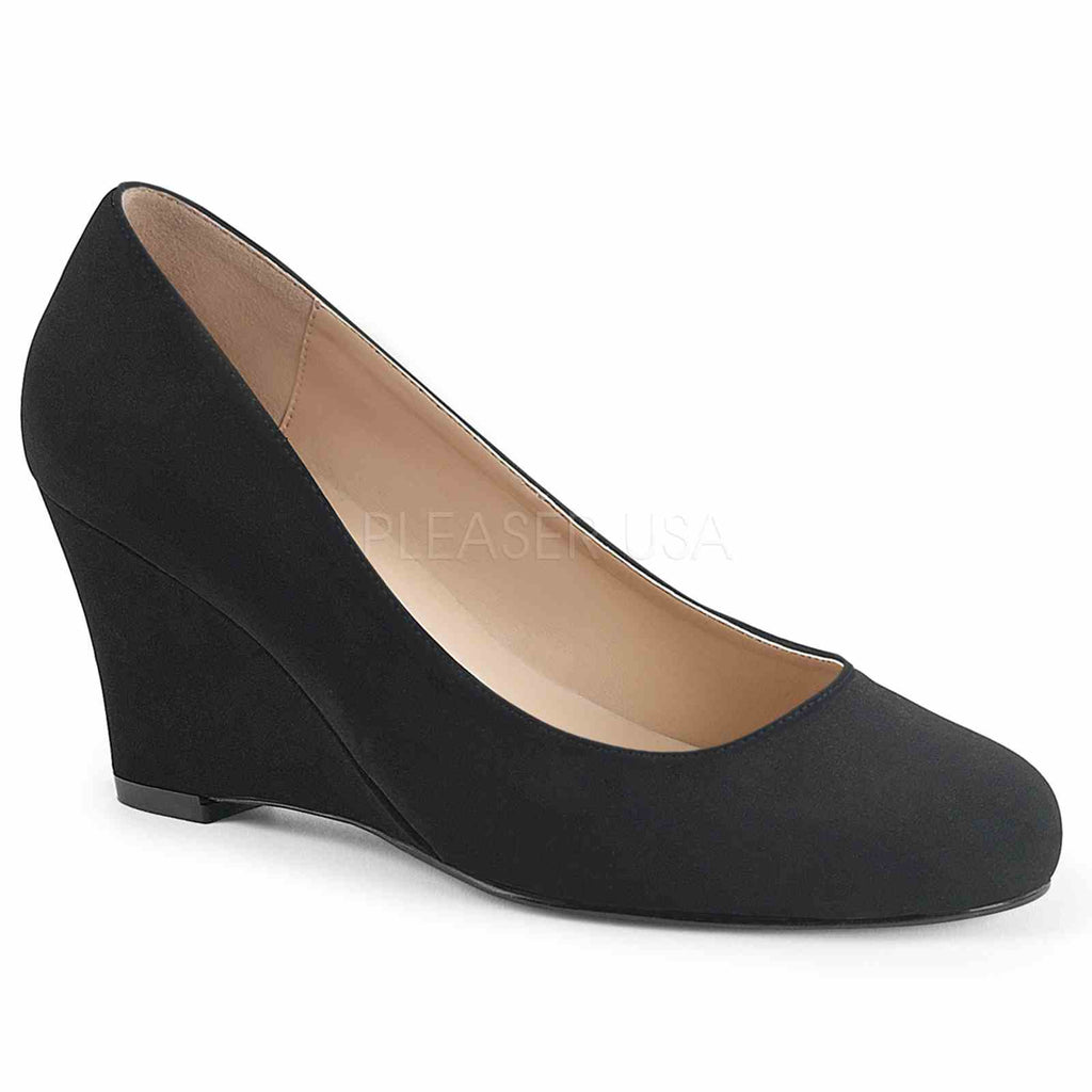 Black Nubuck Suede Sexy Womens Classic Pumps Shoes Wedge Single Sole Close Toe