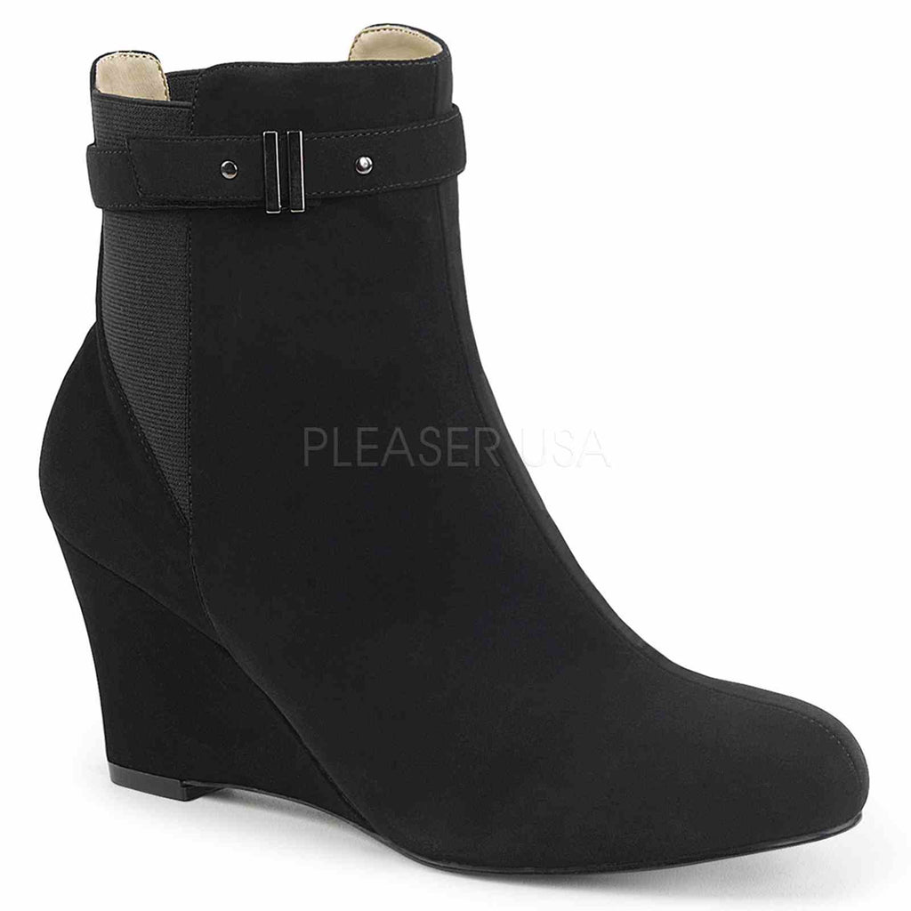 Black Nubuck Suede Womens Wedge Ankle High Boots Sexy Mens Drag Tranny Shoes