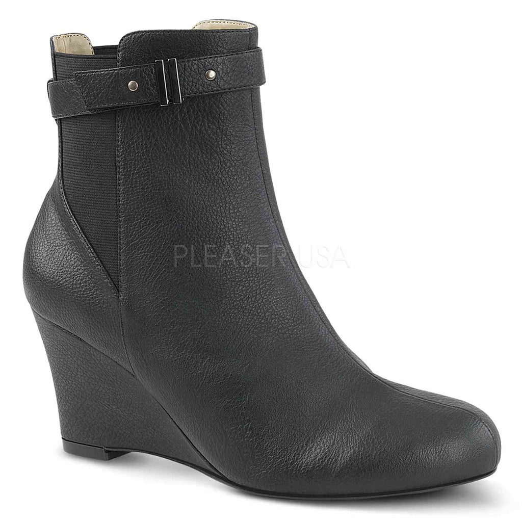 Black Faux Leather Womens Wedge Ankle High Boots Sexy Mens Drag Tranny Shoes