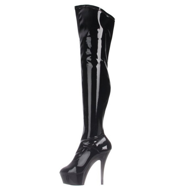 Black Stretch Patent Thigh High Boots Stripper Platform Sexy Exotic High Heels
