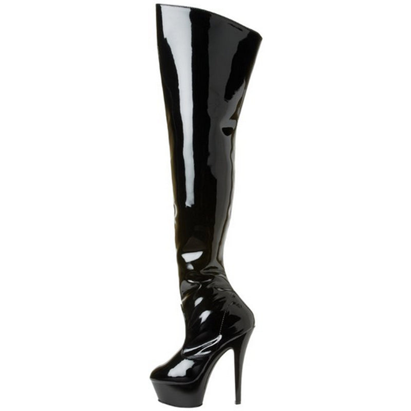 Black Patent Women Foxy Stiletto Inner Side Zipper Heel Thigh High Boots Pleaser