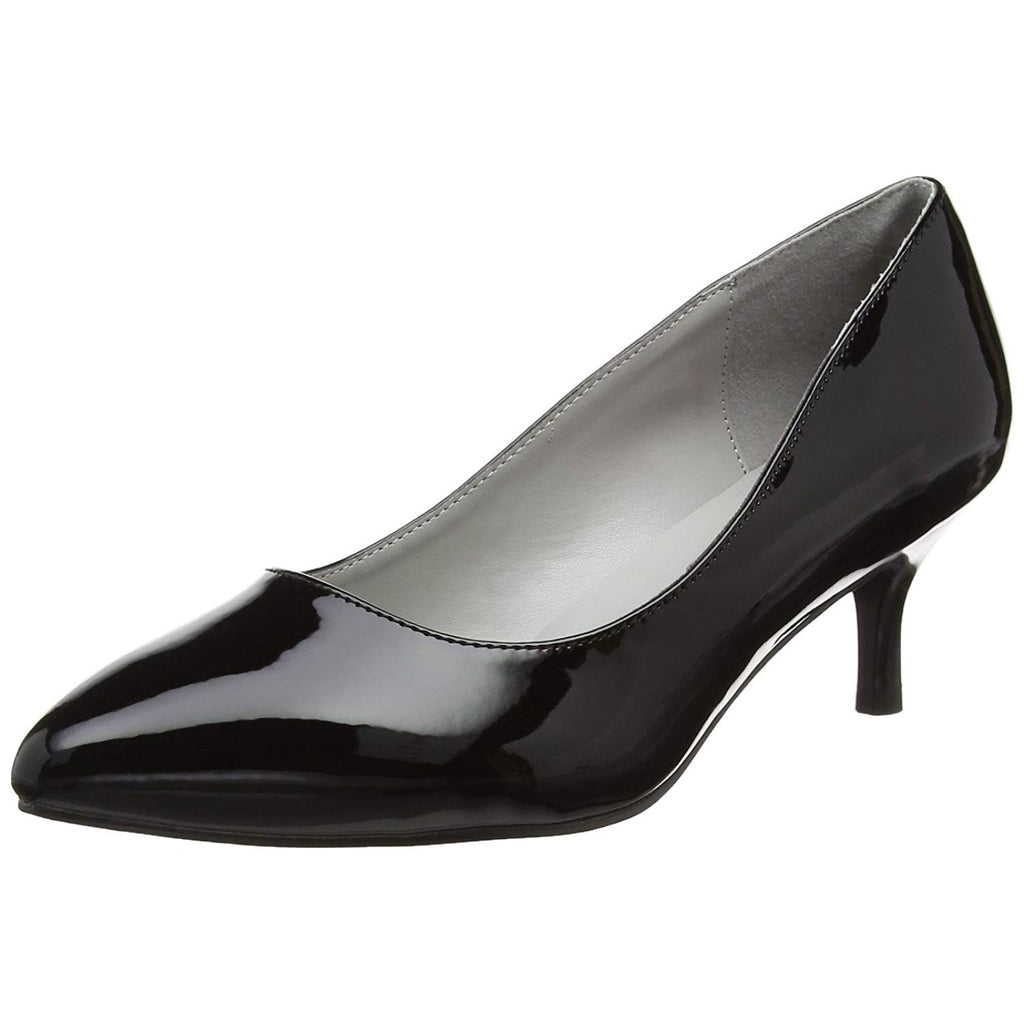 Black Patent Shiny Women Single Sole Classic Kitten High Heeled Pump Slide Shoes