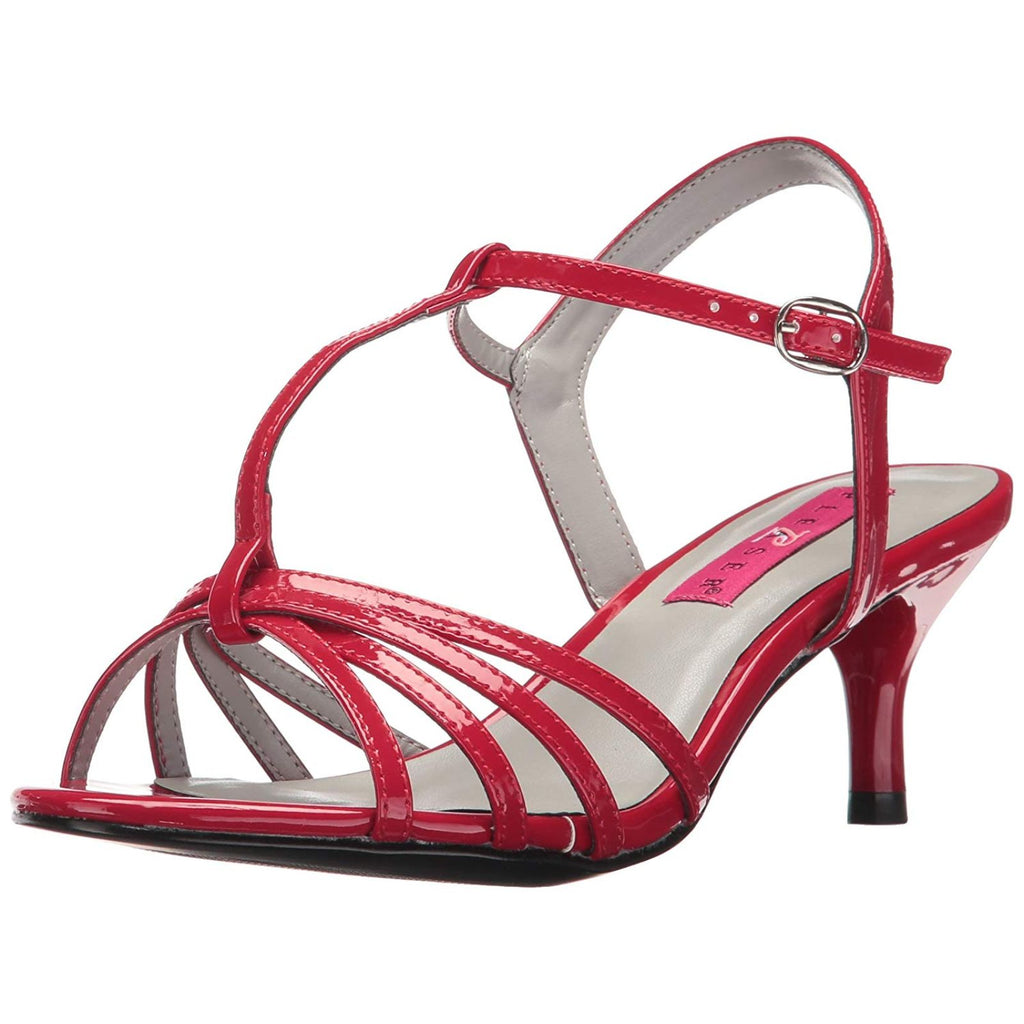 Red Patent Women Single Sole Kitten High Heel T-Strap Shiny Casual Pumps Sandals