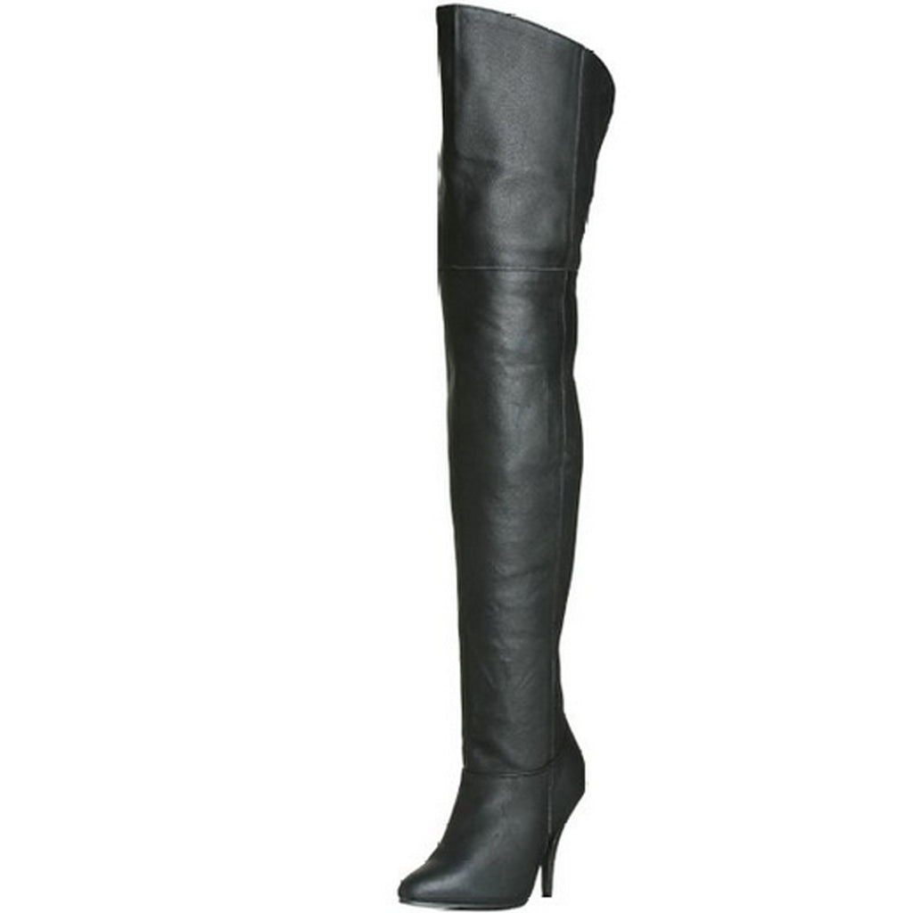 Black Pull On Elasticated Gusset Thigh High Women Boots Heel LEGEND-8868 Pleaser