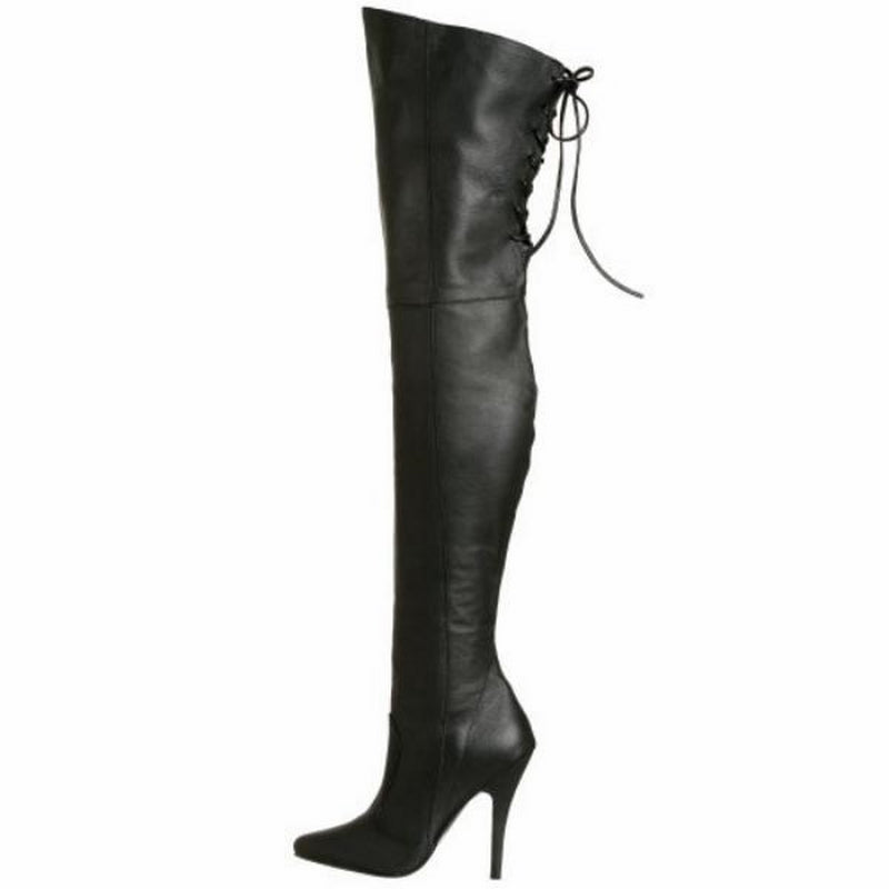 Black Back Lacing Leather Thigh High Heeled Boots Side Zip LEGEND-8899 Pleaser
