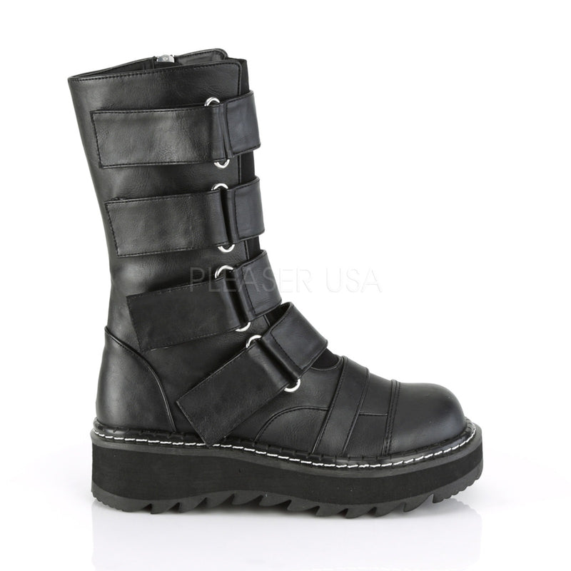 Black Vegan Leather Womens Platform Mid Calf Boots Front Strap Side Zip Closure