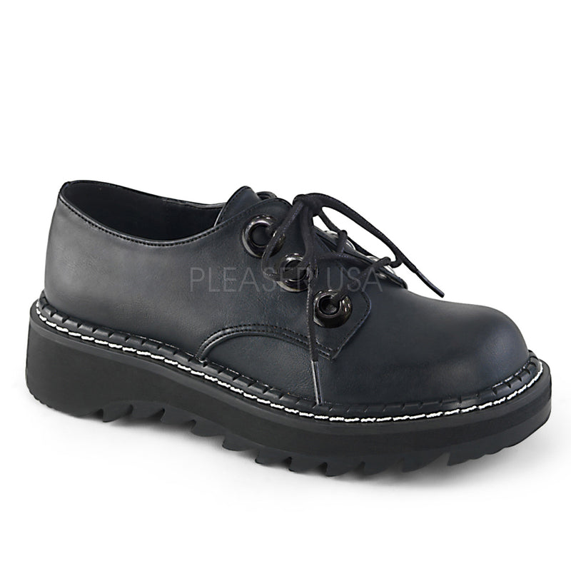 Black Vegan Leather Womens 3-Eyelet Lace-Up Oxford Shoes Goth Punk Platform