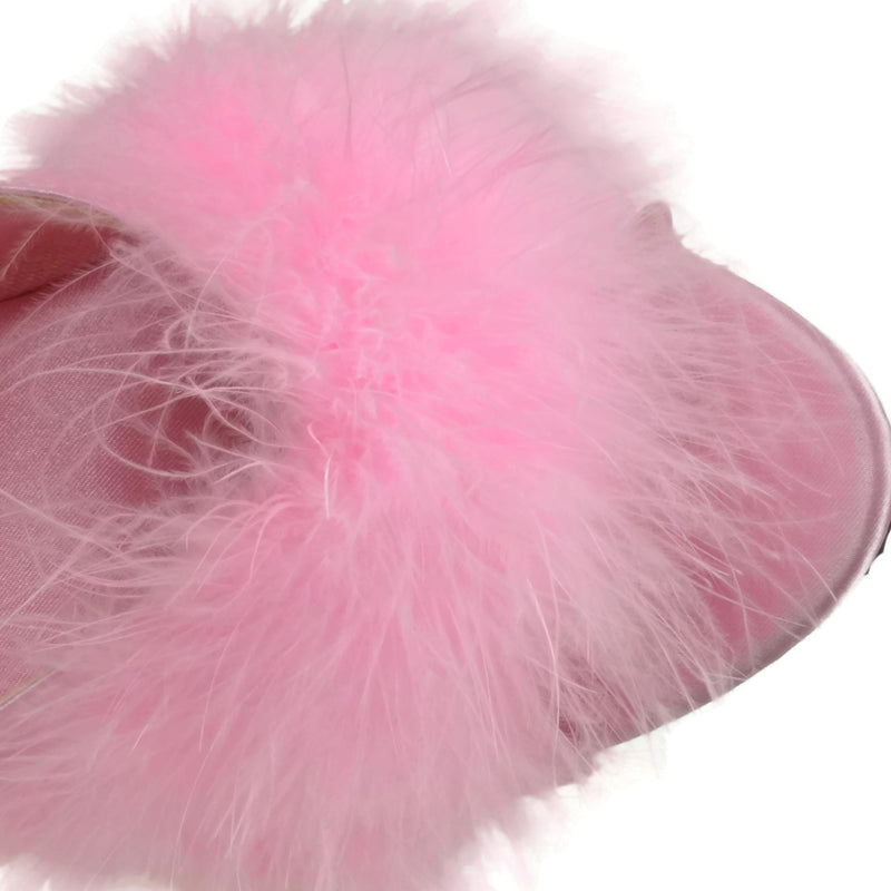 FABULICIOUS LIP-101-8 Shoes Satin Clear Platform Marabou Slipper High Heels Pink
