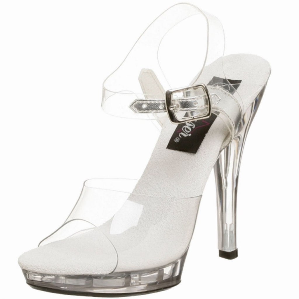 Clear Womens Sandals Ankle Strap Open Toe High Heels Fabulicious LIP-108 Shoes