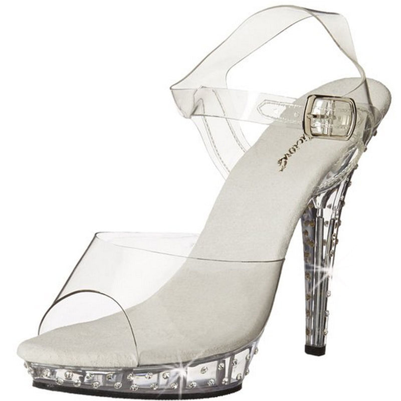 Clear Rhinestones Ankle Strap Sandals Open Toe High Heels FABULICIOUS LIP-108SDT