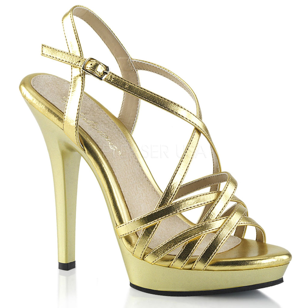 Gold Sexy High Heel Platform Strappy Sandals Womens Shoes PLEASER LIP113/GMPU/M