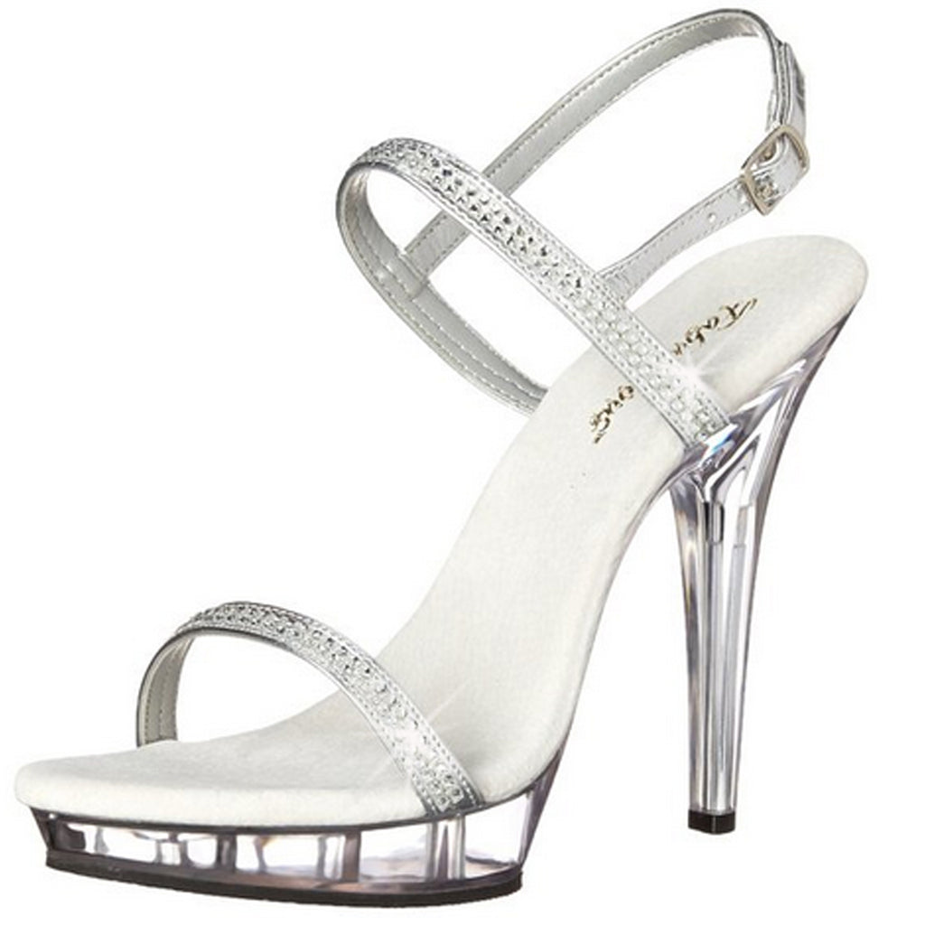 Silver Womens Shoes Ankle Strap Sandals Open Toe High Heels PLEASER LIP-117