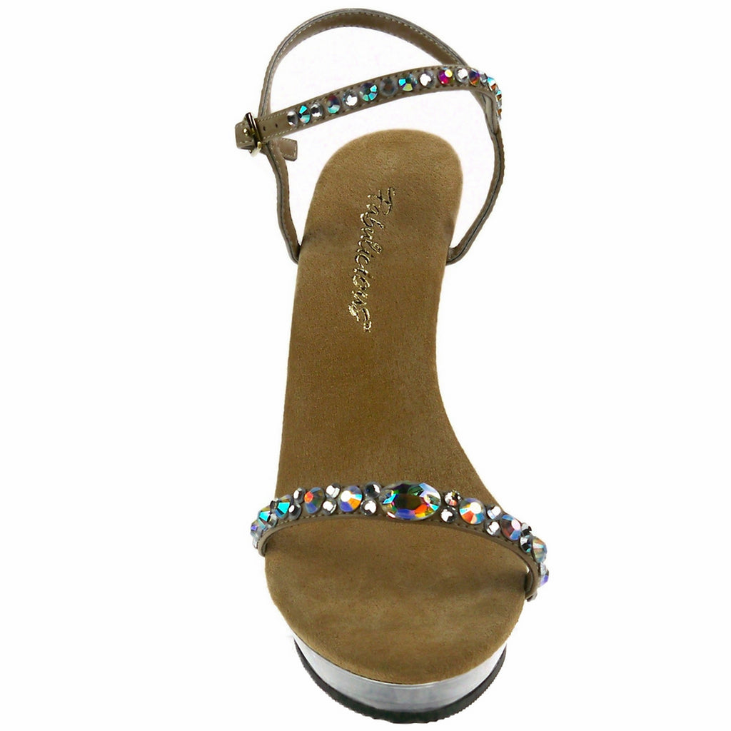 Taupe Rhinestone Ankle Strap Sandal Open Toe High Heel Shoes FABULICIOUS LIP-131